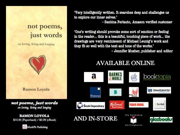 'not poems, just words' available all around